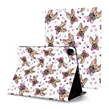French Bull Dog Pink Blue Case for iPad Pro 12.9 Case 2020 with Pencil Holder Shockproof Cover with Auto Sleep/Wake