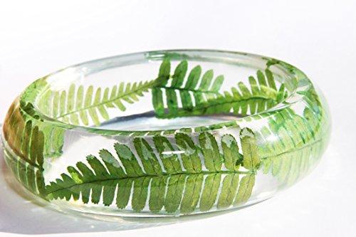 Handmade Real dried leaf Botanical Garden Resin Bangle Bracelet.{G-12}Size 68mm,height 23mm. Free USA shipping.