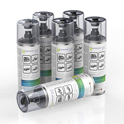AUPROTEC Lackspray AUPROPAINT Gloss schwarz glänzend Sprühlack Glanzlack Auto Lack Spray 6X 400ml