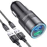 YEONPHOM Cargador Coche USB para iPhone 12 Pro Max/Mini/11/XS Max/XR/X/8/7/6/6S Plus/5S/5/SE,iPad Air Mini Pro,2.4A Carga Rápida USB Adaptador Cargador Coche con 2x1M Cable Lightning MFi Certificado