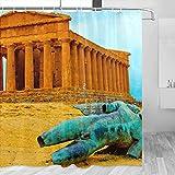 Italia Templo de la Concordia Agrigento Sicilia Cortina de ducha Viajes Decoración de baño Set con ganchos Poliéster 72x72 pulgadas (YL-03302)