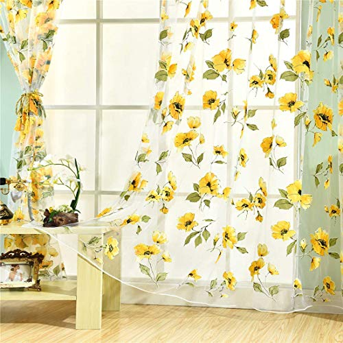 Haoun 2Pcs Peony Curtains Sheer Window Panels Drapes Rod Pocket Voile Tulle Window Screen for Kid's Room,Living Room Decor 39.4x78.8