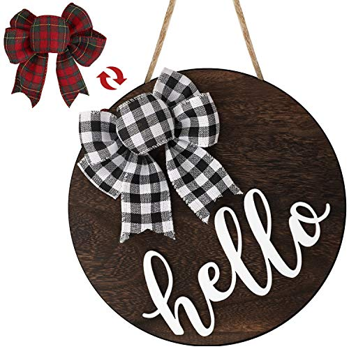 Hello Sign for Front Door Welcome Porch Decor Wall Hanging Rustic Wooden Home Outdoor Farmhouse Decorations