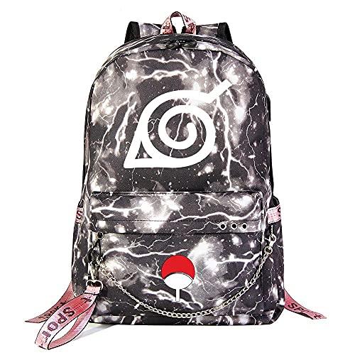 ZZGOO-LL Naruto/Sharingan/Kakashi with Chain USB Anime Laptop Backpack Bag Travel Mochilas Daypacks Bolso Ligero Light Grey-F
