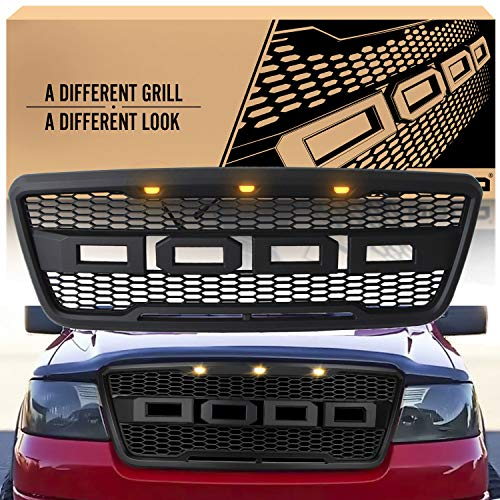 Front Grill Replacement for Ford F150 2004 2005 2006 2007 2008 SEVENS Raptor Style Grille Hood Mesh Upgrades Bumper with Amber LED Lights Full Emblems Matte Black