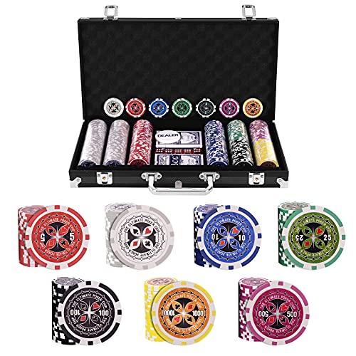 GOPLUS Mallette de Poker avec 300 Jetons, 2 Jeux de Cartes en Plastique, 5 Dés, 1 Bouton Dealer, Etui en Aluminium, Jeu de Casino Professionel Convient à la Famille et aux Amis (Noir)