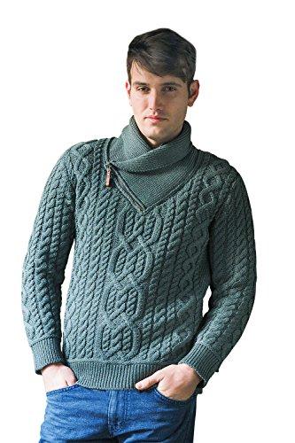 West End Knitwear Irish Shawl Merino Wool Sweater with Zip Neck (Green, Medium)