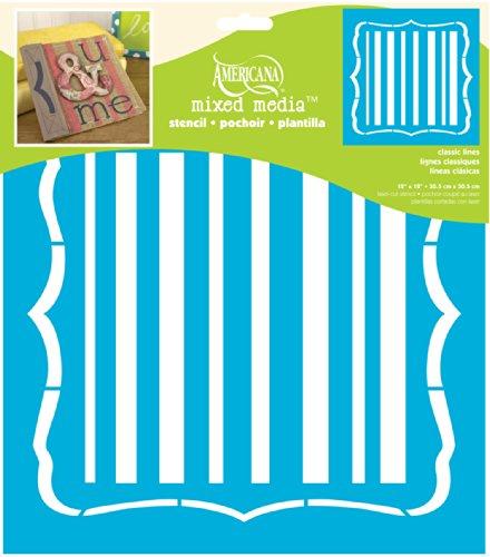Americana Decor Classique Lignes Pochoir, Bleu, 12 x 30,5 cm