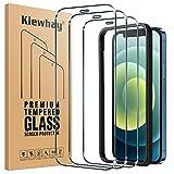 Kiewhay Protector de Pantalla Compatible con iPhone 12/ iPhone 12 Pro Cristal Templado 6,1'', [9H Dureza] [Sin Burbujas] [con Marco de Instalación] Vidrio Templado para iPhone 12 Pro - 3 Piezas
