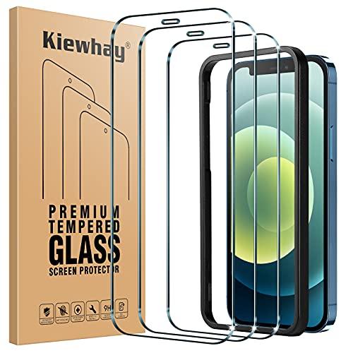 Kiewhay Pellicola Protettiva Compatibile con iPhone 12  iPhone 12 Pro Vetro Temperato 6,1  , [9H Durezza] [No Bolle] [with Telaio di Installazione] HD Pellicola Vetro per iPhone 12 Pro - 3 Pezzi