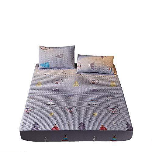 Sábana Bajera Ajustable Cama Funda de colchón doble y transpirable, protector de sábana estampada de algodón, funda de colchón elástica, fundas de almohadilla de dibujos animados gris 150 * 200 cm