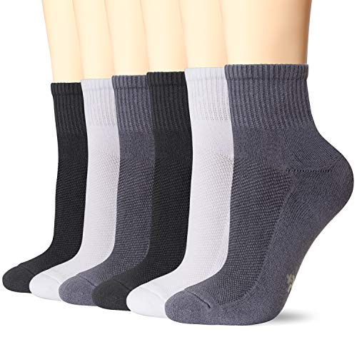 +MD 6 Pack Mens Big and Tall Bamboo Ankle Socks Cushioned Sole Quarter Casual Socks 2Black/2White/2Grey14-16