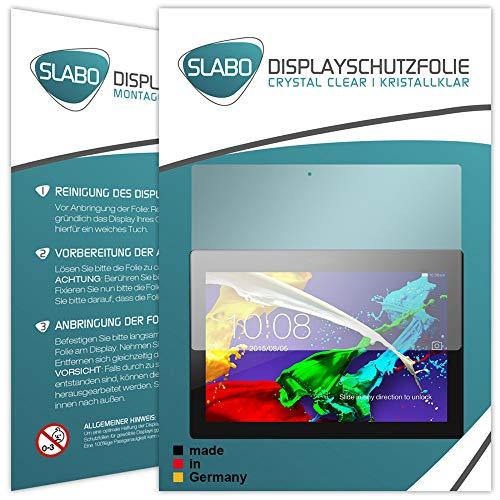 Slabo 2 x Bildschirmschutzfolie für Lenovo Tab 2 A10-70 Bildschirmschutz Schutzfolie Folie Crystal Clear KLAR