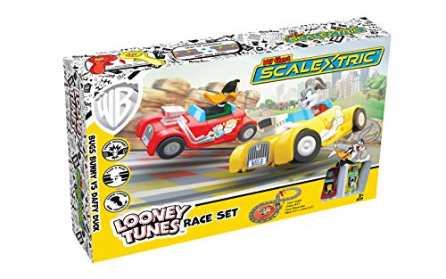Scalextric G1141 My First Looney Tunes with Bugs Bunny vs Daffy Duck, batteriebetriebenes Slot-Racing-Spielzeug-Set, Mehrfarbig