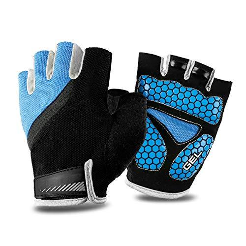 BRAZT Cycling Gloves, Half Finger Mountain Road Bike Gloves with Gel Padded, Fingerless Gloves for Men Women Outdoor Gym Sports,Blue,M