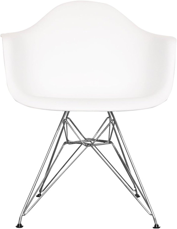Esszimmerstuhl aus Kunststoffsitz mit Metallbeinen wei