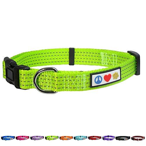 PAWTITAS Reflektierende Hundehalsband Stitching Welpen/Hundehalsband Verstellbare Nylon | Hunde Halsband Atmungsaktives | Reflektierend Halsband für Hund - Grün Hundehalsband Extra Klein Hund