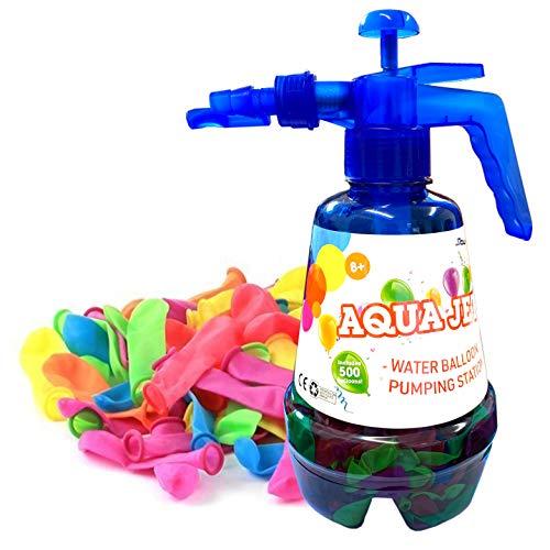 Wasserballons Bomben 500 für Kinder mit Pumpstation 3 in 1 Sprühflasche Schnell befüllen Kleine Ballons Ideal für Splash Fights, Sommer Outdoor Wasserschlacht Spiele und Partybevorzugungen Mehrfarbig