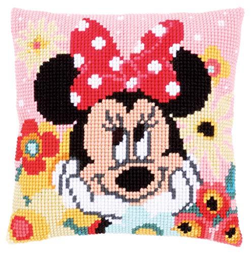 Cojín con diseño de Minnie Mouse en versión Daydreaming, Hecha en Punto de Cruz