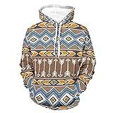 GeauDoup Sudadera con capucha de manga larga y diseño tribal étnico, unisex, con bolsillos, Blanco, XXL