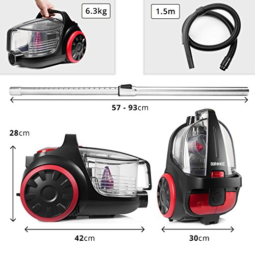 Duronic Bagless Cylinder Vacuum Cleaner VC5010 | Cyclonic Carpet and Hard Floor Cleaner | 500W | Lightweight and Low…