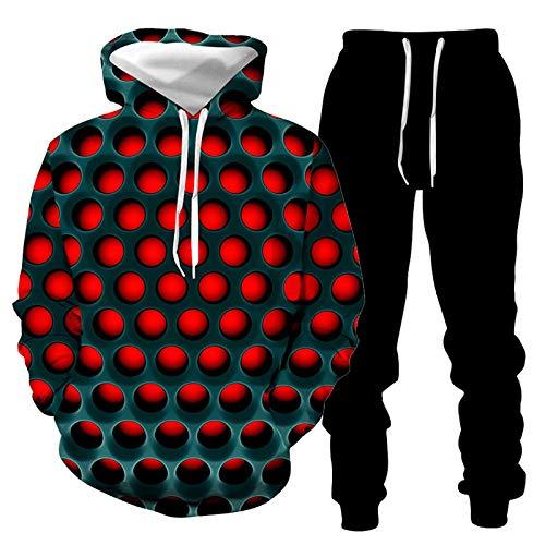 DREAMING-Impresión 3D suéter con capucha suelto suéter casual pantalones traje de los amantes primavera y otoño top de manga larga + pantalón largo de pierna traje de ropa deportiva XXL
