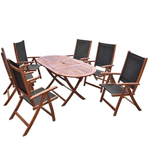 Tidyard 7-TLG. Garten-Essgruppe Massivholz Akazie Folding Table and Folding Chairs, Garden Set, Dining Set, Patio Furniture, Garden Furniture, Garden Furniture Set, Acacia solid Wood
