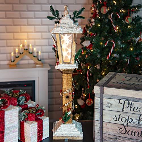 The Christmas Workshop 70769 - Lampione da 85 cm, con Luce a Stella Girevole, 6 luci LED, Decorazioni Natalizie per Interni, Funzione Timer, Funzionamento a Batteria, 19 x 19 x 85 cm