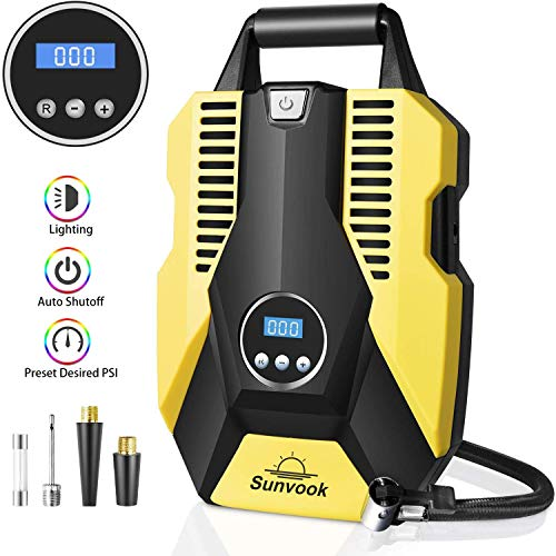 Sunvook Tyre Inflator Air Compressor Digital Tyre Pump 12V 120W 150PSI Touch Screen Inflator with Larger Air Flow, 3 Nozzle Adaptors, LED Light for Car SUV Basketballs Inflatables Bicycles