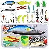 Kits de Señuelos Pesca, Accesorios Cebos Artificiales, Pesca Duros/Suaves Señuelos, Artificiales Articulos de Pesca, Señuelos de Pesca con Anzuelo para la Pesca de Agua Dulce y Salada (18 Pcs)