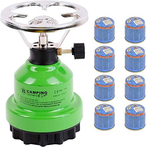 Elfmonkey Campingkocher E190 | Set aus Metall-Gaskocher & Gas | ideal für unterwegs: Modell: Grün + 8X Gaskartusche