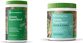 Amazing Grass Green Superfood: Super Greens Powder with Spirulina, 60 Servings & Green Superfood Detox & Digest: Cleanse w...