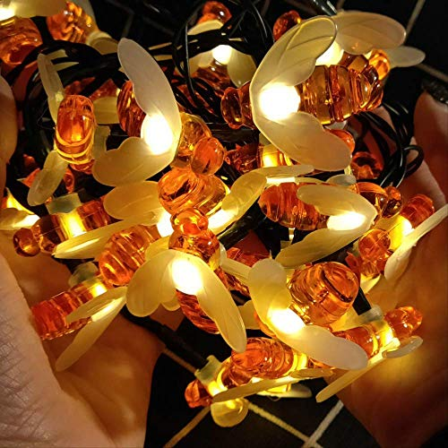 CFLFDC Lichtsnoer, LED, op zonne-energie, lichtketting, lamp met ketting en gordijn, acryl, lamp 7 m, 50 (met 2 m lood)