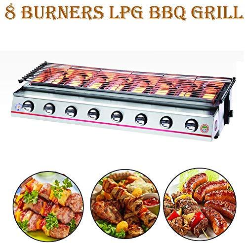 Commerciale 8 fuochi Barbecue a Gas Griglie a Gas GPL Piastra per Barbecue Macchina per Barbecue Acciaio Inossidabile Strumenti per Barbecue all'aperto Grande griglia (Schermo Inossidabile, Nastro)
