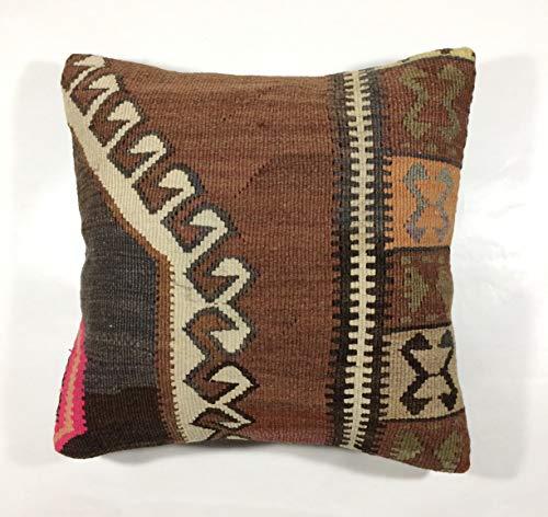 Kelim Kissen 40x40 cm Kissenbezug Orientalisch Handgefertigt Teppiche Kilim Kissenhülle aus Wolle Oushak Uschak Türkisch Handarbeit code 140