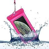 Power Theory Funda Impermeable Móvil - Bolsa Estanca Flotante (Certificada IPX8) - 16 cm - iPhone XS MAX,XR,X,7,8,6 Plus, Samsung Galaxy S10 Plus, S9, Edge, S8, S5, HTC, Huawei y Otros (Rosa)
