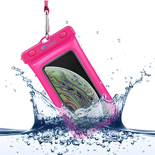 Power Theory wasserdichte Handyhülle - Wasserfeste Handytasche Handyschutz Cover Beutel Beachbag Tasche Handy Hülle Waterproof Case - iPhone X/XS 8 7 6s Samsung S10 S9 S8 S7 und viele mehr (Pink)