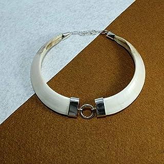 Collar de colmillos naturales de jabalí montado en plata de ley 925
