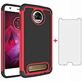 Phone Case for Moto Z2 Force with Tempered Glass Screen Protector Cover and Cell Accessories Slim Rugged Silicone Hard Hybrid Motorola MotoZ2Force Droid MotoZ2 Z2Force Z 2 2Z Cases Women Black Red