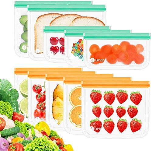 MEIRUIER Bolsas Vertical de Almacenamiento de Alimentos,Bolsas de Congelación Reutilizables,Biodegradables, Bolsas para Almacenar Sándwiches,Verduras,Frutas.A Prueba de Fugas,Sin BPA (10pcs(4L*4M*2S))