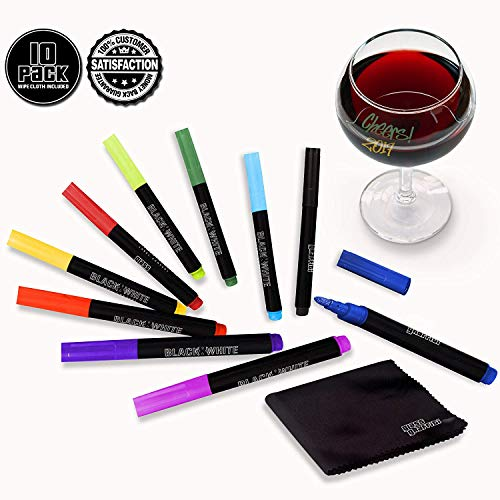 (10) Wine Glass Markers Pens Glass Graffiti Premium Primary Writer Marker Liquid Chalk Pen & Wipe Cloth - Alternative To Party Wine Charms For Use On Glasses Crystal Windows (Primary - 10 Pack)