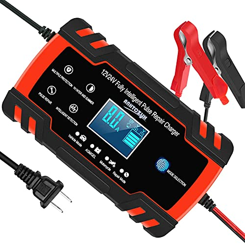 Automotive Battery Charger 12V/8A 24V/4A Trickle Charger Smart Automatic Battery Charger for Car Motorcycle Boat Marine Lawn Mower SLA ATV RV SUV Wet AGM Gel Cell Lead Acid Battery by YONHAN