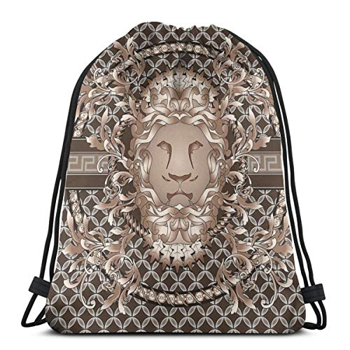 Genertic Rucksack mit Kordelzug, Mighty Lion Head Tragbare Sporttasche, geeignet für Schule, Sport, Reisen, Geburtstag, Party, Strand, Schwimmen