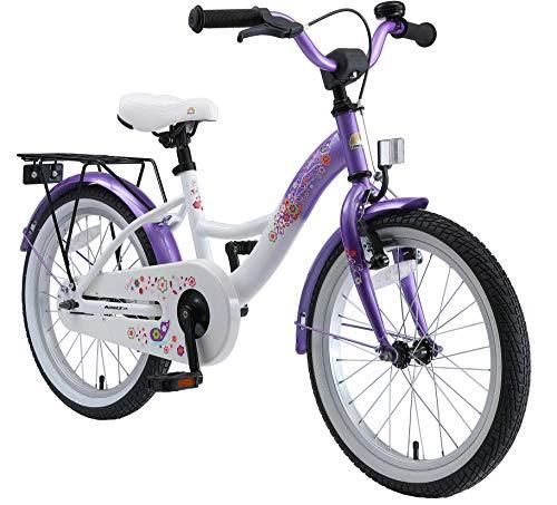 """BIKESTAR Bicicletta Bambini 5-7 Anni Bici Bambino Bambina 18 Pollici Freno a Pattino e Freno a retropedale 18"""" Classico Edition Viola e Bianco"""
