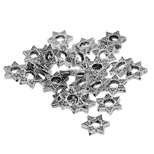 oshhni 30 Piece Ancient Star of David Frame Beads in Middle Antique Silver Connector