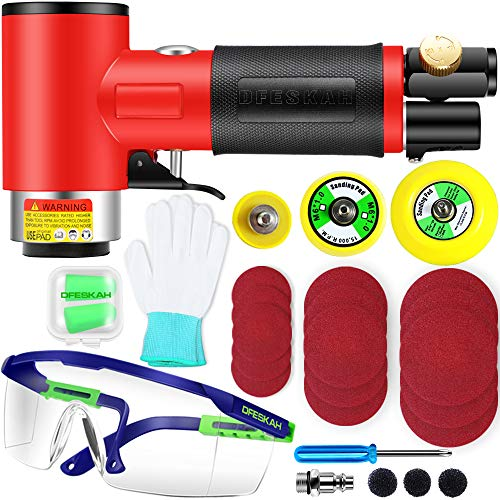 Mini Air Sander, 1/2/3 Inch Random Orbital Air Sander, Mini Pneumatic Sander for Auto Body Work, High Speed Air Powered Sanders & Polisher with 15 Sandpapers