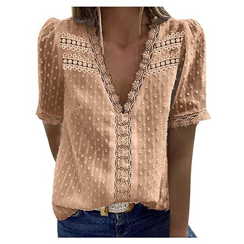 Camiseta de encaje para mujer sexy con lunares para mujer, elegante blusa de ganchillo, camiseta de verano, camiseta de blusa de algodón, manga corta, cuello en V, Beige B., M