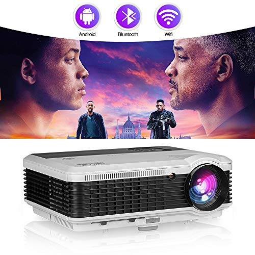 "Smart Home Projector with Bluetooth Wifi,4600 Lumen LED Movie Proyector Compatible with HDMI VGA USB AV DVD Player Fire TV Stick Laptop,Support 150"" Display/Screen Mirroring/Zoom"