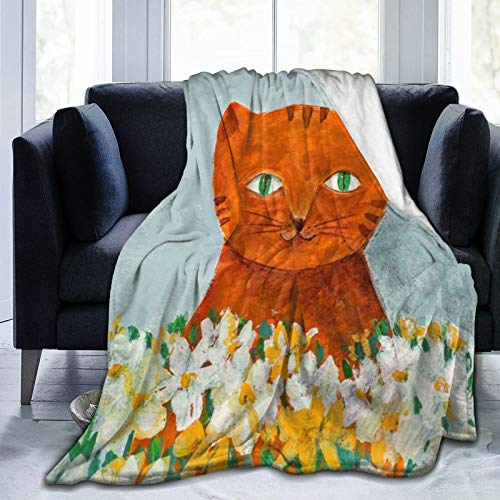 """POIUI Ginger Cat with White Flowers Blanket Ultra Soft Thick Bed Blanket Soft Coral Flannel Blanket Micro Fleece Blanket for Sofa Couch Bed Office Soft Home Bed Blankets 80""""x 60"""""""