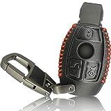 FoilsAndMore Hülle kompatibel mit Mercedes Benz 3-Tasten Autoschlüssel - Leder Schutzhülle Cover Schlüsselhülle in Schwarz Rot